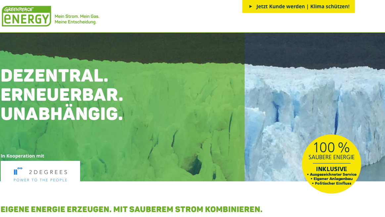 Greenpeace Energy & 2Degrees Ökostrom & Windgas